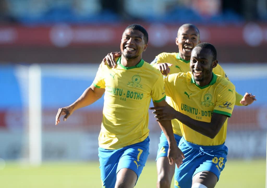 Lyle Lakay of Mamelodi Sundowns celebrates his goal with teammate Peter Shalulile