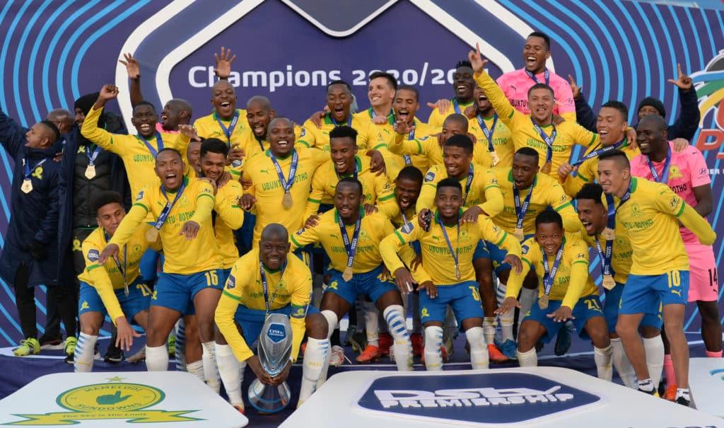 Mamelodi Sundowns celebrate lifting the league title