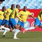 Lyle Lakay of Mamelodi Sundowns celebrates goal with teammates