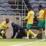 Evidence Makgopa of Bafana Bafana celebrates goal with teammates during the International Friendly match between South Africa and Uganda