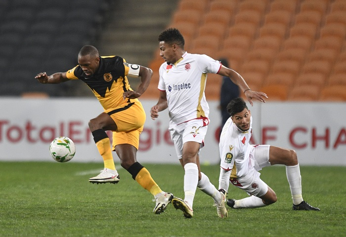 Bernard Parker of Kaizer Chiefs challenged by Ayoub El Amloud of Wydad Casablanca during the 2021 CAF Champions League Semi Final 2nd Leg match between Kaizer Chiefs and Wydad Casablanca on 26 June 2021 at the FNB Stadium
