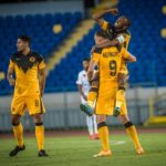 Samir Nurkovic and Bernard Parker of Kaizer Chiefs celebrate against Wydad