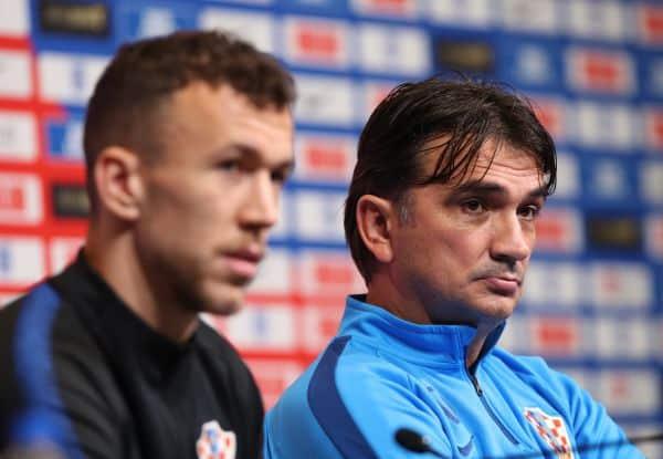Zlatko Dalic and Ivan Perisic of Croatia