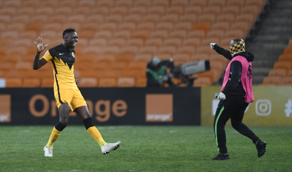 Eric Mathoho of Kaizer Chiefs celebrates after securing a spot in the 2021 CAF Champions League Final
