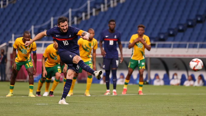 André-Pierre Gignac of France scoring from the spot against South Africa