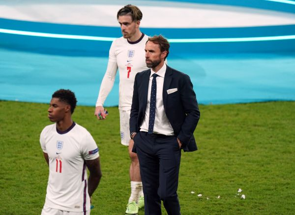 Dejected Gareth SOuthgate after losing the Euro 2020 final