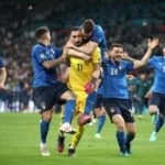 Italy celebrate after beating England