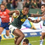 South Africa wing Sbu Nkosi on his way to scoring his try during the 2019 Castle Lager RWC Warm Up match, South Africa v Argentina at Loftus Versfeld in Pretoria on 17 August 2019 Photo: Christiaan Kotze/BackpagePix