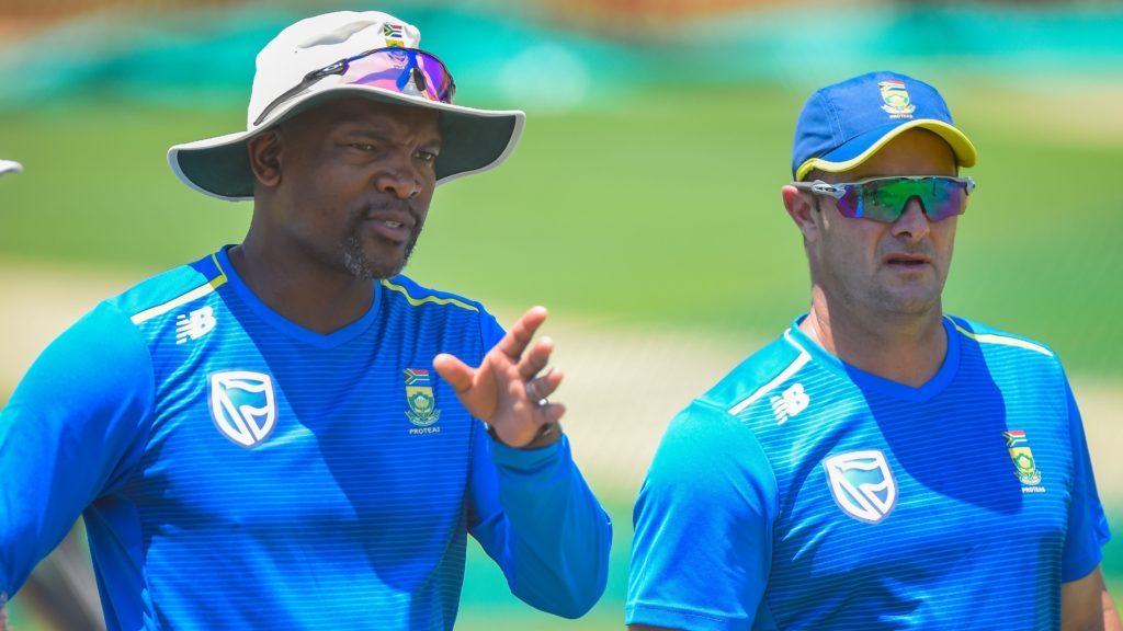 Bowling coach Charl Langeveldt with Enoch Nkwe assistant coach and Mark Boucher coach of the Proteas during the SA Proteas squad training at Super Sport Park in Centurion on 20 December 2019. Photo © Christiaan Kotze/BackpagePix