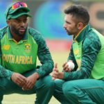 Temba Bavuma with Keshav Maharaj of South Africa during the 2021 3rd Betway One Day International match between South Africa and Pakistan at Supersport Park Stadium, Centurion, on 07 April 2021 ©Samuel Shivambu/BackpagePix