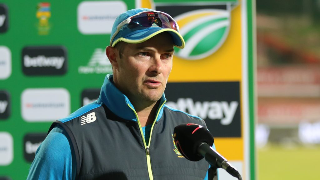 Mark Boucher, coach of South Africa during the 2021 3rd Betway One Day International match between South Africa and Pakistan at Supersport Park Stadium, Centurion, on 07 April 2021 ©Samuel Shivambu/BackpagePix