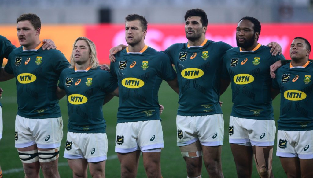 South Africa players sing their national anthem before the 2021 British and Irish Lions Tour second test between South Africa and BI Lions at Cape Town Stadium on 31 July 2021 ©Ryan Wilkisky/BackpagePix
