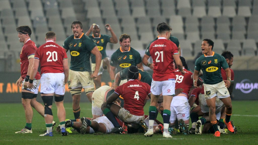 South Africa players celebrate victory at the final whistle during the 2021 British and Irish Lions Tour third test between South Africa and BI Lions at Cape Town Stadium on 7 August 2021 ©Ryan Wilkisky/BackpagePix