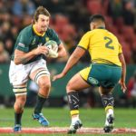 South Africas' Eben Etzebeth and Australia's Folau Fainga'a during the 2019 Castle Lager Rugby Championship, South Africa v Qantas Wallabies at Emirates Airline Park in Johannesburg on 20 July 2019 Photo: Christiaan Kotze/BackpagePix