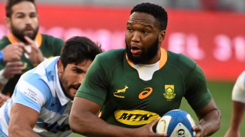 Lukhanyo Am of the Springboks during the 2021 Rugby Championship game between Argentina and South Africa at Nelson Mandela Bay Stadium in Port Elizabeth on 21 August 2021 ©Deryck Foster/BackpagePix