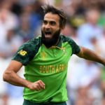 LONDON, ENGLAND - MAY 30: Imran Tahir of South Africa celebrates after taking the wicket of Eoin Morgan of England during the Group Stage match of the ICC Cricket World Cup 2019 between England and South Africa at The Oval on May 30, 2019 in London, England. (Photo by Stu Forster-ICC/ICC via Getty Images)