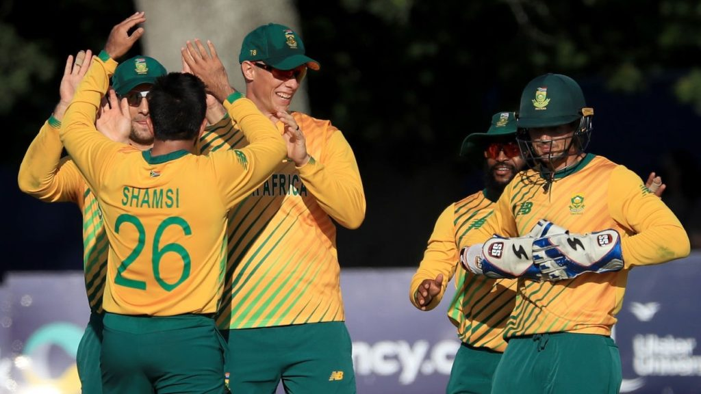 South Africa's Tabraiz Shamsi (centre) celebrates taking the wicket of Ireland's Harry Tector during the Twenty20 International match at The Village, Dublin. Picture date: Monday July 19, 2021. (Photo by Donall Farmer/PA Images via Getty Images)