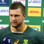 CAPE TOWN, SOUTH AFRICA - JULY 31: Handre Pollard of South Africa speaks to media after the 2nd Test between South Africa Springboks and the British & Irish Lions at Cape Town stadium on July 31, 2021 in Cape Town, South Africa. (Photo by EJ Langner/Gallo Images/Getty Images)