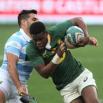 GQEBERHA, SOUTH AFRICA - AUGUST 14: Ball carrier Aphelele Fassi of South Africa during the Castle Lager Rugby Championship match between South Africa and Argentina at Nelson Mandela Bay Stadium on August 14, 2021 in Gqeberha, South Africa. (Photo by Richard Huggard/Gallo Images/Getty Images)