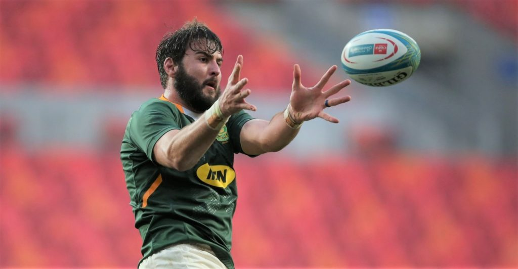 GQEBERHA, SOUTH AFRICA - AUGUST 14: Lood de Jager of South Africa wins a lineout during the Castle Lager Rugby Championship match between South Africa and Argentina at Nelson Mandela Bay Stadium on August 14, 2021 in Gqeberha, South Africa. (Photo by Richard Huggard/Gallo Images/Getty Images)