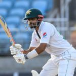 Babar Azam of Pakistan hits 4 during day 3 of the 1st Test between West Indies and Pakistan at Sabina Park, Kingston, Jamaica, on August 14, 2021. (Photo by Randy Brooks / AFP) (Photo by RANDY BROOKS/AFP via Getty Images)