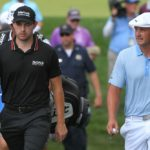 OWINGS MILLS, MD - AUGUST 28: Patrick Cantlay and Bryson DeChambeau walk towards the ninth tee box during the third round of the BMW Championship at Caves Valley Golf Club on August 28, 2021 in Owings Mills, Maryland. (Photo by Ben Jared/PGA TOUR via Getty Images)