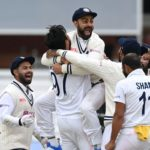 LONDON, ENGLAND - AUGUST 16: India captain Virat Kohli celebrates with teammates after Ishant Sharma dismisses Jonathan Bairstow of England during day five of the Second LV= Insurance Test Match between England and India at Lord's Cricket Ground on August 16, 2021 in London, England. (Photo by Gareth Copley/Getty Images)