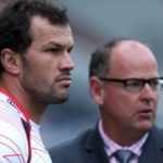 DURBAN, SOUTH AFRICA - MARCH 08: Bismarck Du Plessis (captain) of the Cell C Sharks with Jake White (Sharks Director of Rugby) of the Cell C Sharks look on during the Super Rugby match between Cell C Sharks and Lions at Growthpoint Kings Park on March 08, 2014 in Durban, South Africa. (Photo by Steve Haag/Gallo Images/Getty Images)