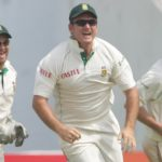 AHMEDABAD, INDIA - APRIL 5: Graeme Smith of South Africa celebrates after the catch by AB de Villiers to get the wicket of Rahul Dravid for 17 runs during Day 3 of the second test match between India and South Africa held at Sardar Patel Gujarat Stadium on April 5, 2008 in Motera, Ahmedabad, India. (Photo by Duif du Toit/Gallo Images/Getty Images)