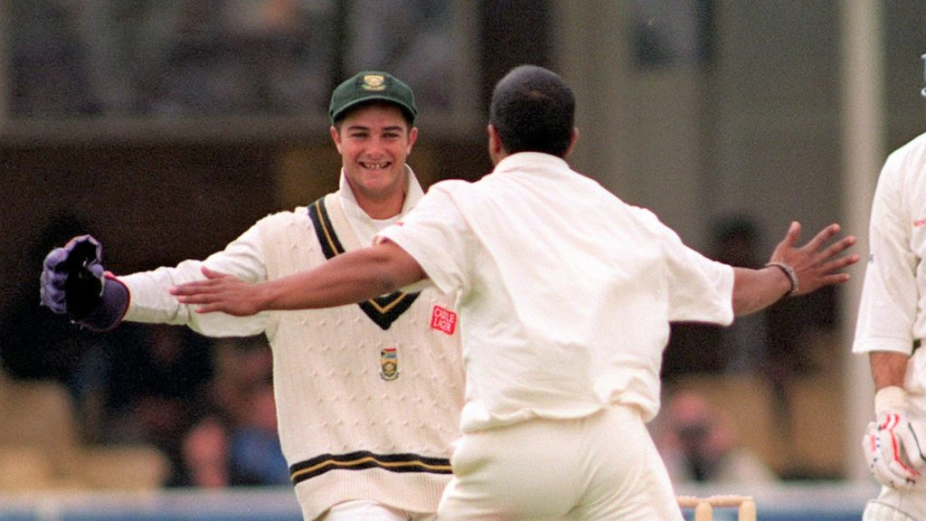 South African wicketkeeper Mark Boucher celebrates with bowler Paul Adams as England's Nasser Hussain is out lbw, after a ball hit his pads very low, during the second day of the 1st Test at Edgbaston today (Friday). Photo By Rebecca Naden./PA (Photo by Rebecca Naden - PA Images/PA Images via Getty Images)