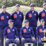 epa09482302 The US team poses with US Team Captain Steve Stricker (C-with trophy) during the US team photo session at the pandemic-delayed 2020 Ryder Cup golf tournament at the Whistling Straits golf course in Kohler, Wisconsin, USA, 22 September 2021. The US team are (B-From Left) Collin Morikawa,Justin Thomas, Jordan Spieth, and Xander Schauffele, (Back from Left) Patrick Cantlay, Bryson DeChambeau, Harris English, Tony Finau, Dustin Johnson, Scottie Scheffler, Daniel Berger, and Brooks Koepka. EPA/TANNEN MAURY