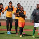 Thabiso Kutumela leads the warm up during the 2022 World Cup Qualifiers South Africa Training Session on 30 August 2021 at the Dobsonville Stadium, Soweto ©Muzi Ntombela/BackpagePix