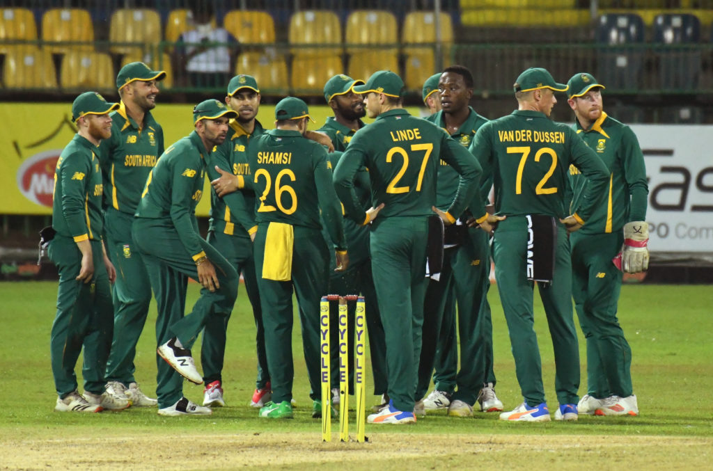 South Africa wait for the 3rd umpire decision during the 2nd One Day International between Sri Lanka and South Africa held at R.Pramadasa International Cricket Stadium in Colombo, Sri Lanka on 4th September, 2021. ©Pradeep Dambarage/BackpagePix