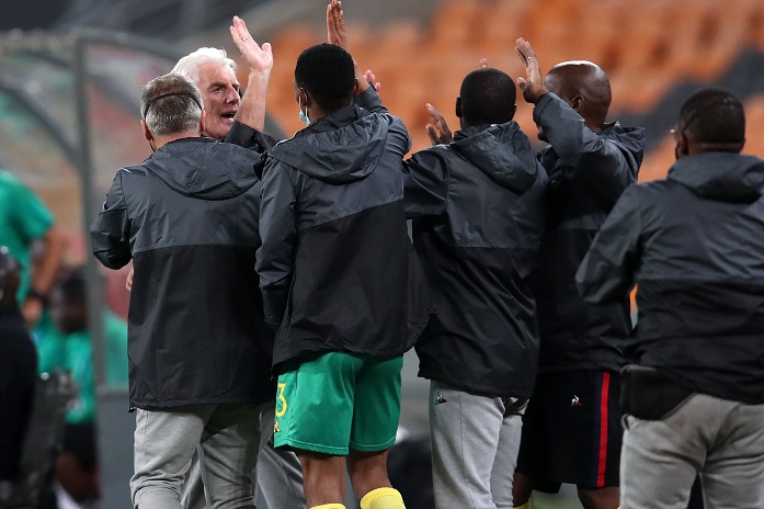 Hugo Broos, coach of Bafana Bafana celebrates beating Ghana