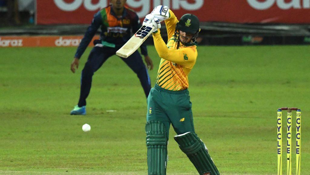 Quinton de Kock of South Africa plays a shot during the 2nd T20 International between Sri Lanka and South Africa held at R.Pramadasa International Cricket Stadium in Colombo, Sri Lanka on 12th September, 2021. ©Pradeep Dambarage/BackpagePix