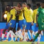 Divine Lunga of Mamelodi Sundowns celebrates with his teammates