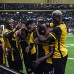 Young Boys celebrating their last minute winner over Manchester United