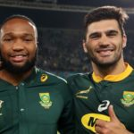 (l-R): Jesse Kriel, Lukhanyo Am and Damian de Allende of South Africa during the international rugby match between South Africa and England at the Free State Stadium, Bloemfontein on 16 June 2018 ©Muzi Ntombela/BackpagePix