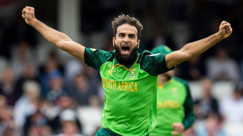 LONDON, ENGLAND - MAY 30: Imran Tahir of South Africa celebrates taking the wicket of Eoin Morgan of England (not shown) during the Group Stage match of the ICC Cricket World Cup 2019 between England and South Africa at The Oval on May 30, 2019 in London, England. (Photo by Andy Kearns/Getty Images)