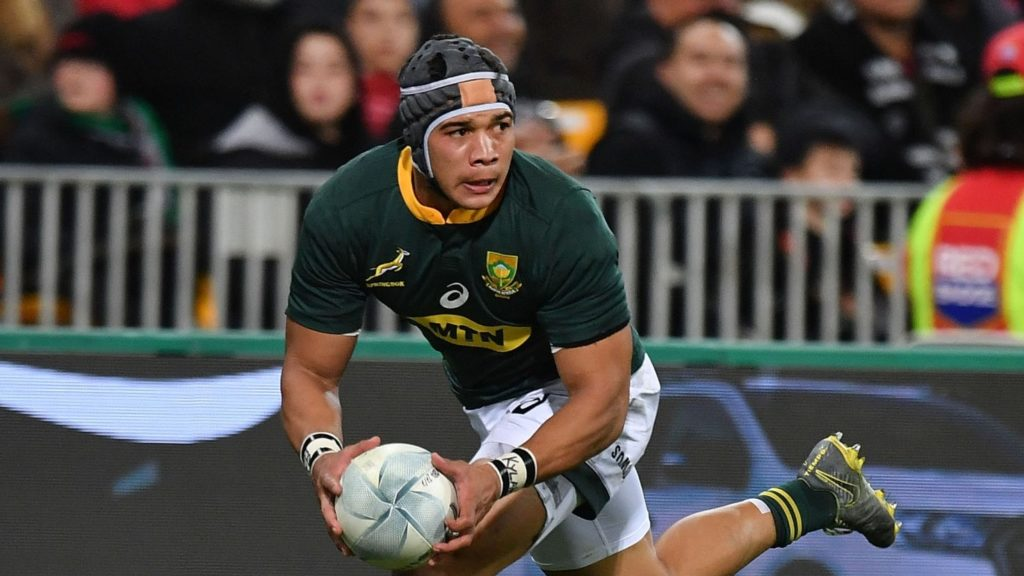 South Africa's Cheslin Kolbe runs the ball during the Rugby Champions match between New Zealand and South Africa at Westpac Stadium in Wellington on July 27, 2019. (Photo by Marty MELVILLE / AFP) (Photo credit should read MARTY MELVILLE/AFP via Getty Images)