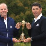 KOHLER, WISCONSIN - OCTOBER 01: United States Captain Steve Stricker (L) and European Captain Padraig Harrington pose with the Ryder Cup during the Ryder Cup 2020 Year to Go media event at Whistling Straits Golf Course on October 1, 2019 in Kohler, United States. (Photo by Andrew Redington/Getty Images,)
