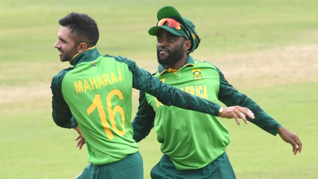 PRETORIA, SOUTH AFRICA - APRIL 07: Temba Bavuma and Keshav Maharaj of South Africa celebrate the wicket of Imam Ul Haq of Pakistan during the 3rd Betway ODI between South Africa and Pakistan at SuperSport Park on April 07, 2021 in Pretoria, South Africa. (Photo by Lee Warren/Gallo Images/Getty Images)