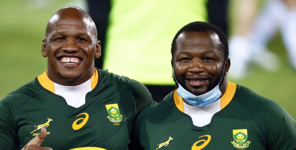 South Africa's Bongi Mbonambi and Ox Nche celebrate after the Summer International test match at the Loftus Versfeld Stadium in Pretoria, South Africa. Picture date: Friday July 2, 2021. (Photo by Steve Haag/PA Images via Getty Images)