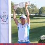TOLEDO, OH - SEPTEMBER 06: Catriona Matthew, captain of Team Europe, hoists the Solheim Cup trophy over her head after accepting it from John Solheim, Chairman and CEO of PING, (not pictured) during the trophy presentation ceremony following the conclusion of the Singles Matches on Day 3 of the Solheim Cup on September 6, 2021 at the Inverness Clue in Toledo, Ohio. (Photo by Scott W. Grau/Icon Sportswire via Getty Images)