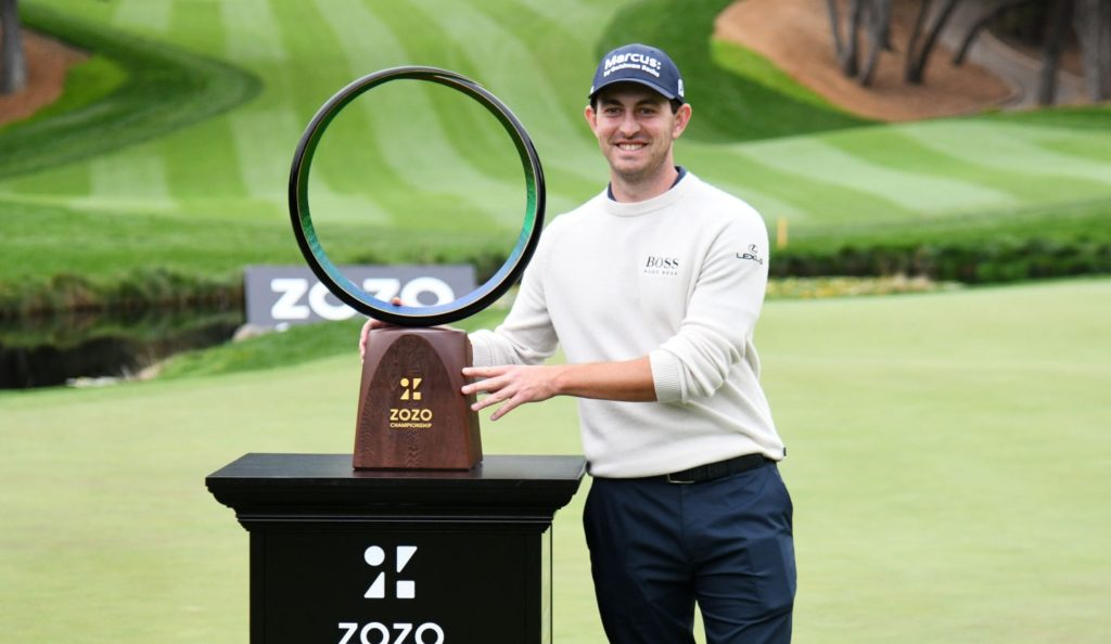 THOUSAND OAKS, CALIFORNIA - OCTOBER 25: Patrick Cantlay of the United States celebrates with the trophy after winning during the final round of the Zozo Championship @ Sherwood on October 25, 2020 in Thousand Oaks, California. (Photo by Harry How/Getty Images)