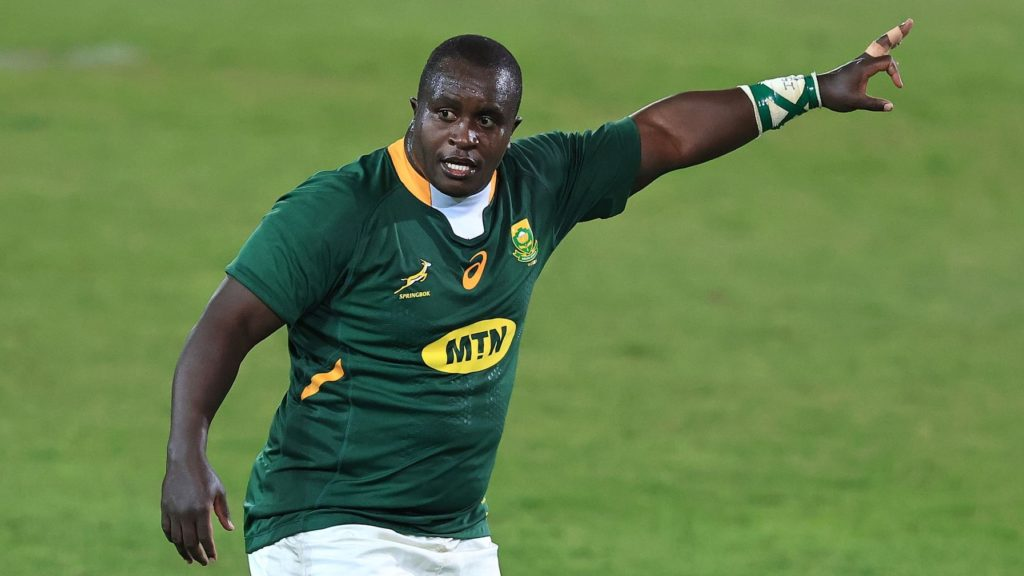 PRETORIA, SOUTH AFRICA - JULY 02: Trevor Nyakane of South Africa looks on during the Rugby Union international match between South Africa and Georgia at Loftus Versfeld Stadium on July 02, 2021 in Pretoria, South Africa. (Photo by David Rogers/Getty Images)