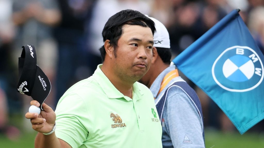 VIRGINIA WATER, ENGLAND - SEPTEMBER 10: Kiradech Aphibarnrat of Thailand acknowledges the crowd after his round during Day Two of The BMW PGA Championship at Wentworth Golf Club on September 10, 2021 in Virginia Water, England. (Photo by Warren Little/Getty Images)