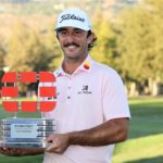 NAPA, CALIFORNIA - SEPTEMBER 19: Max Homa celebrates with the champion's trophy after winning the Fortinet Championship at Silverado Resort and Spa on September 19, 2021 in Napa, California. (Photo by Meg Oliphant/Getty Images)