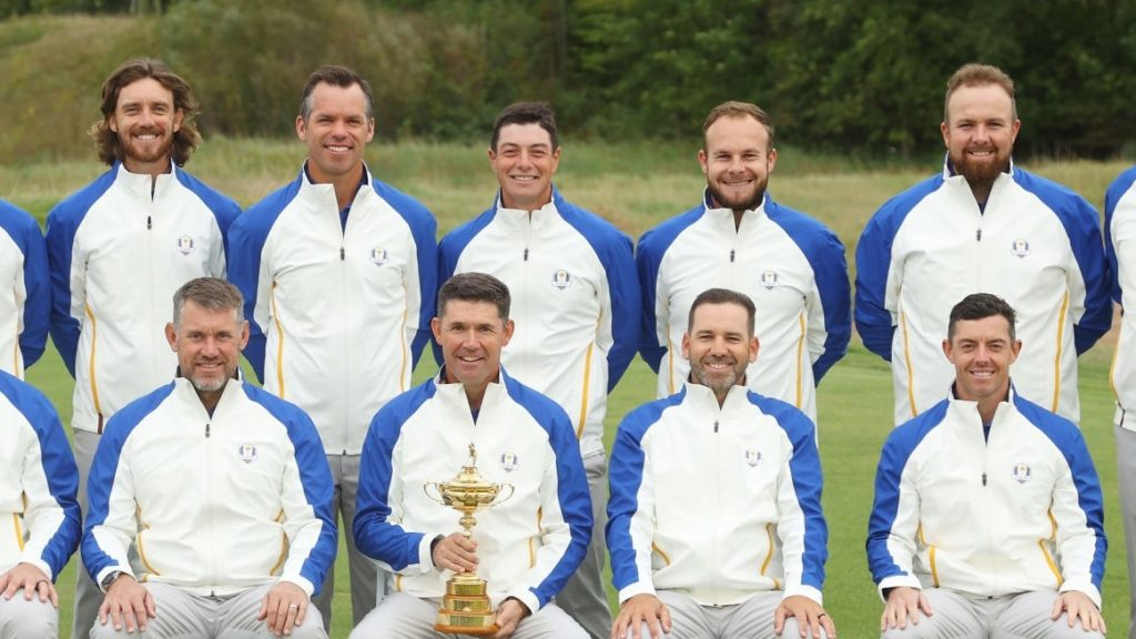 KOHLER, WISCONSIN - SEPTEMBER 21: (Back L-R) Bernd Wiesberger of Austria and team Europe, Matthew Fitzpatrick of England and team Europe, Tommy Fleetwood of England and team Europe, Paul Casey of England and team Europe, Viktor Hovland of Norway and team Europe, Tyrrell Hatton of England and team Europe, Shane Lowry of Ireland and team Europe, Ian Poulter of England and team Europe, (Front L-R) Jon Rahm of Spain and team Europe, Lee Westwood of England and team Europe, captain Padraig Harrington of Ireland and team Europe, Sergio Garcia of Spain and team Europe, and Rory McIlroy of Northern Ireland and team Europe pose for a team photo prior to the 43rd Ryder Cup at Whistling Straits on September 21, 2021 in Kohler, Wisconsin. (Photo by Andrew Redington/Getty Images)