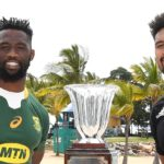 TOWNSVILLE, AUSTRALIA - SEPTEMBER 24: Siya Kolisi of the Springboks and Ardie Savea of the All Blacks pose with the Freedom Cup trophy during a media opportunity ahead of this weekend's Rugby Championship matches at Strand Park on September 24, 2021 in Townsville, Australia. (Photo by Ian Hitchcock/Getty Images)